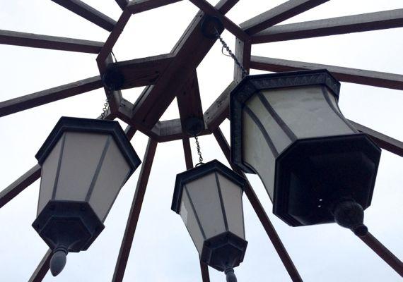 Three lanterns suspended