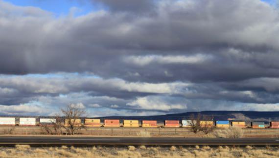 Train golden light