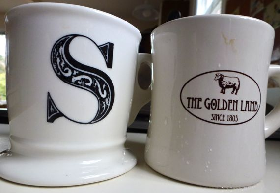 Two coffee cups dirty