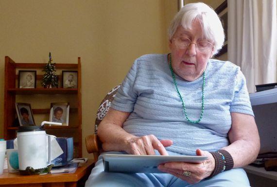 Using iPad at ninety umpf
