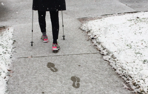Walking on snowy sidewalks