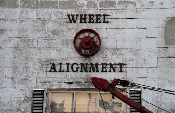 Wheel alignment signage